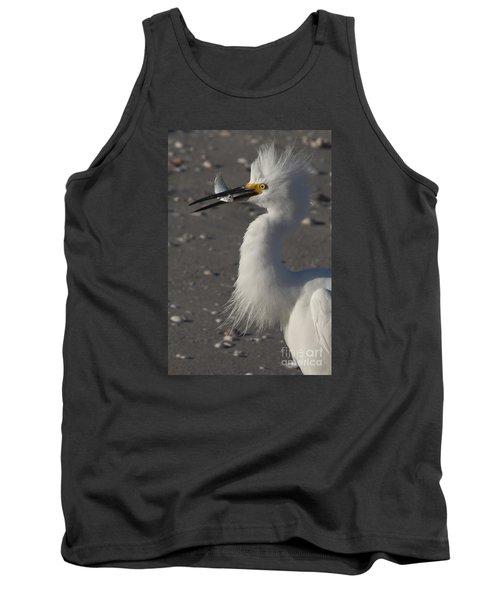 Snowy Egret Fishing Tank Top by Meg Rousher