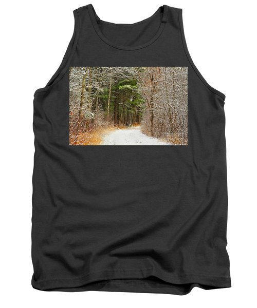 Snowy Tunnel Of Trees Tank Top