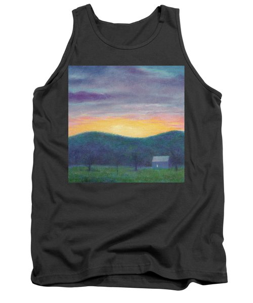 Tank Top featuring the painting Blue Yellow Nocturne Solitary Landscape by Judith Cheng