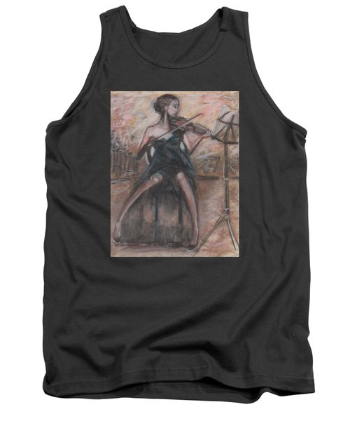 Tank Top featuring the painting Solo Concerto by Jarmo Korhonen aka Jarko
