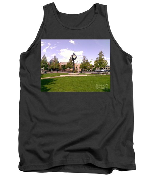 Tank Top featuring the photograph Sparks Community Clock by Bobbee Rickard