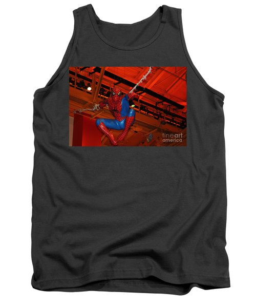 Spiderman Swinging Through The Air Tank Top by John Telfer