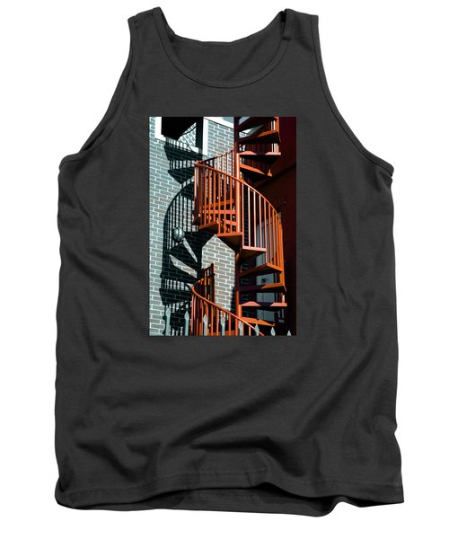 Tank Top featuring the photograph Spiral Stairs - Color by Darryl Dalton