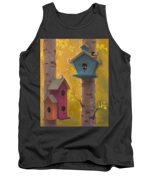 Spring Chickadees 2 - Birdhouse And Birch Forest Tank Top