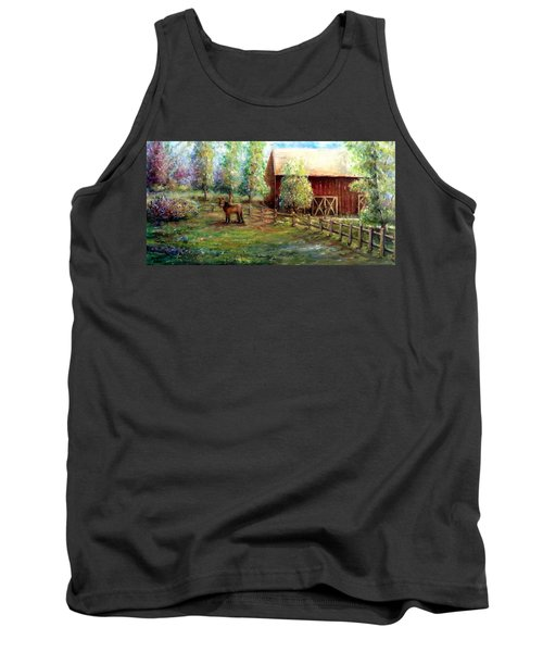 Tank Top featuring the painting Springborn Horse Farm by Bernadette Krupa