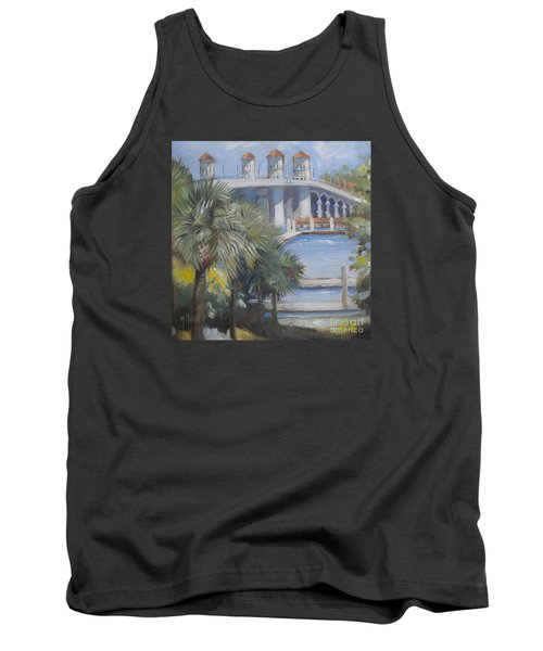 St Augustine Bridge Of Lions Tank Top by Mary Hubley