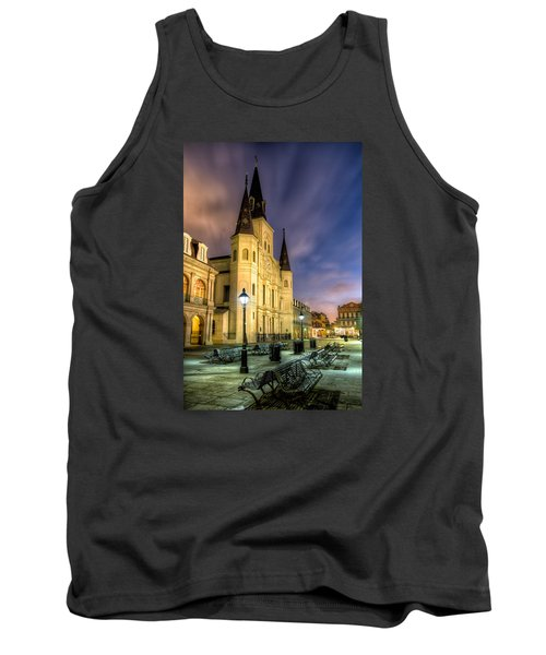 Tank Top featuring the photograph St. Louis Cathedral At Dawn by Tim Stanley