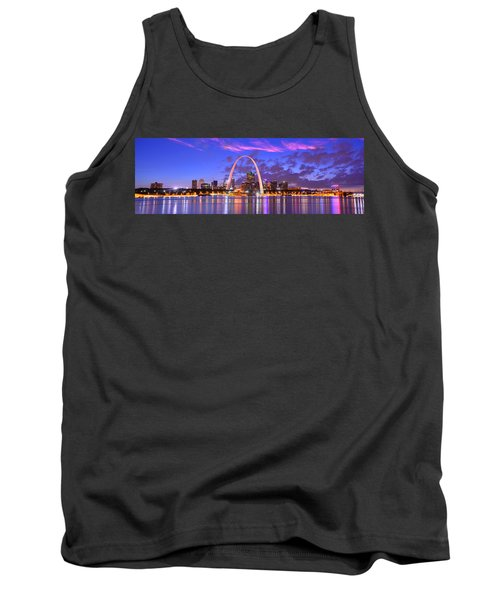 St. Louis Skyline At Dusk Gateway Arch Color Panorama Missouri Tank Top
