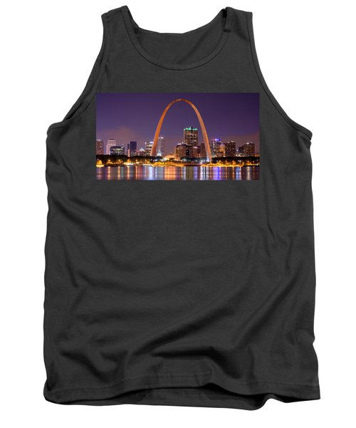 St. Louis Skyline At Night Gateway Arch Color Panorama Missouri Tank Top