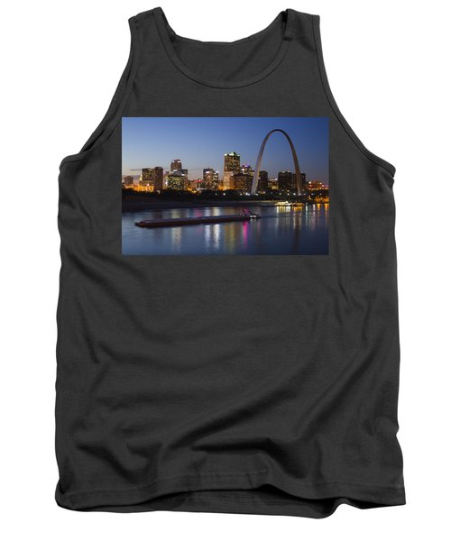 St Louis Skyline With Barges Tank Top by Garry McMichael