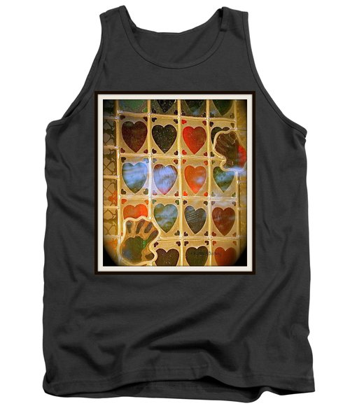 Stained Glass Hands And Hearts Tank Top by Kathy Barney