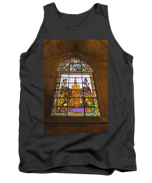 Stained Glass Window In Seville Cathedral Tank Top by Tony Murtagh