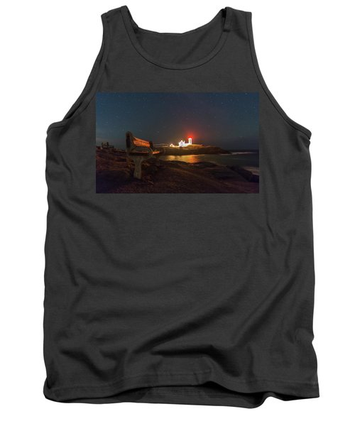 Starry Skies Over Nubble Lighthouse  Tank Top