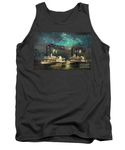Tank Top featuring the digital art Steamboat Racing On The Mississippi by Lianne Schneider