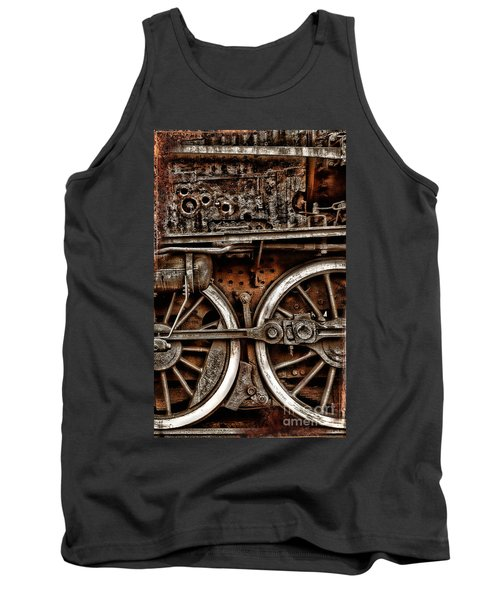Steampunk- Wheels Locomotive Tank Top