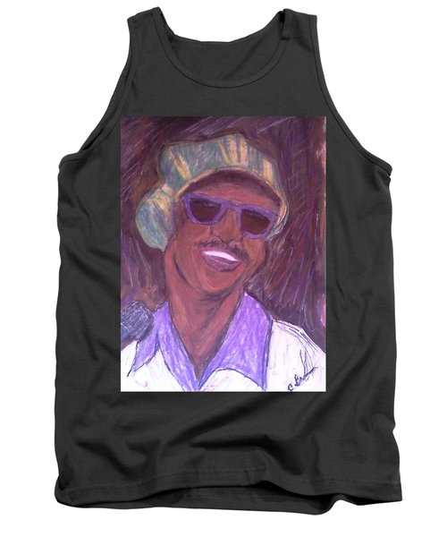 Tank Top featuring the drawing Stevie Wonder 2 by Christy Saunders Church