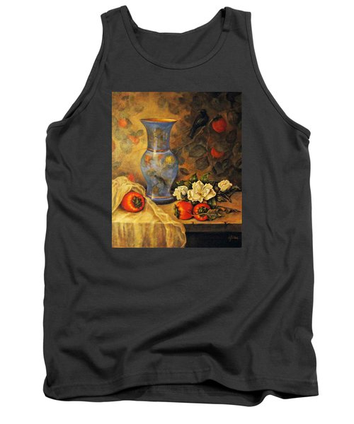 Tank Top featuring the painting Still Life Of Persimmons  by Donna Tucker