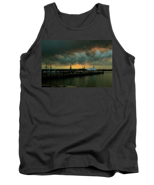 Storm Over National Harbor Oil Tank Top