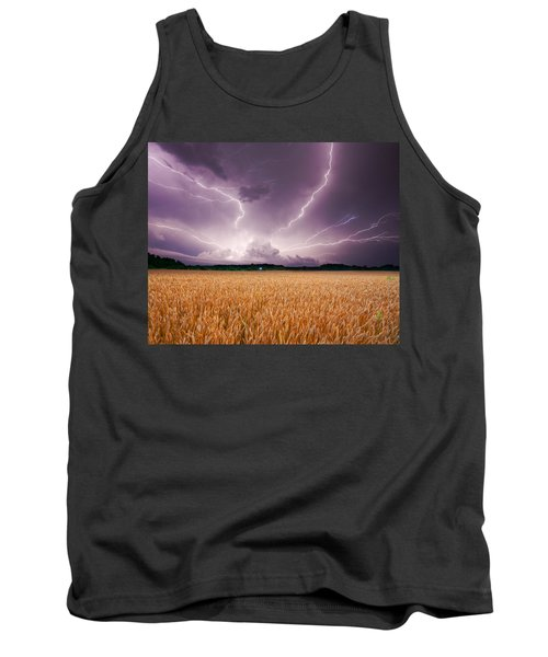 Storm Over Wheat Tank Top by Alexey Stiop