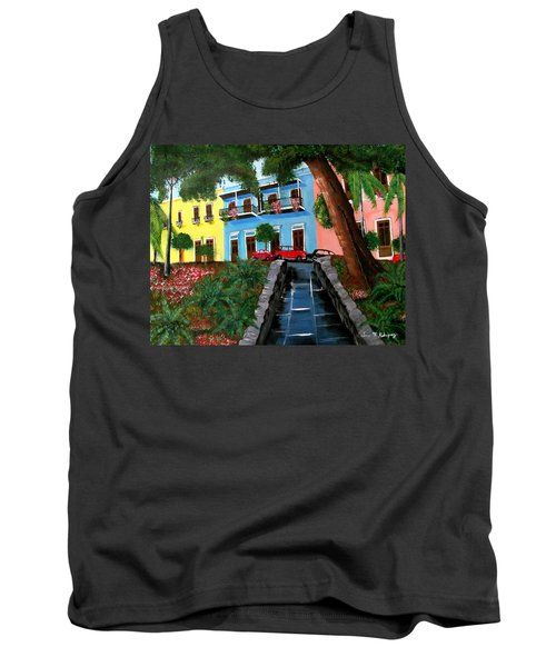 Street Hill In Old San Juan Tank Top by Luis F Rodriguez