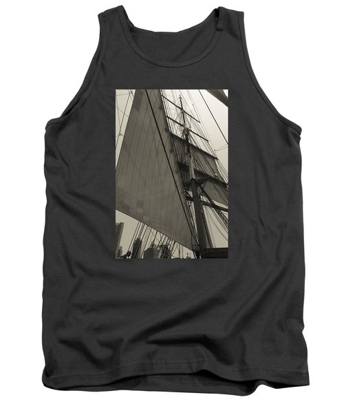 Suare And Triangle Black And White Sepia Tank Top
