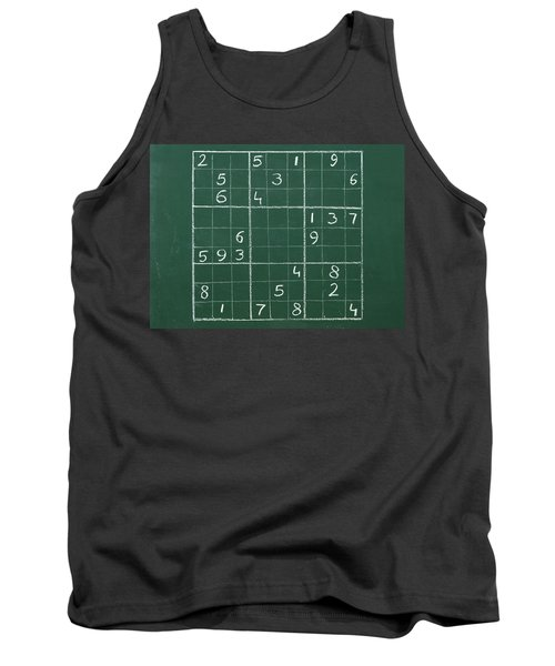 Sudoku On A Chalkboard Tank Top