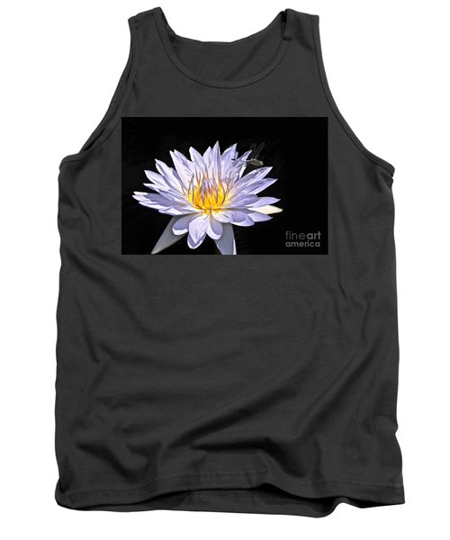 Summer Magic -- Dragonfly On Waterlily On Black Tank Top