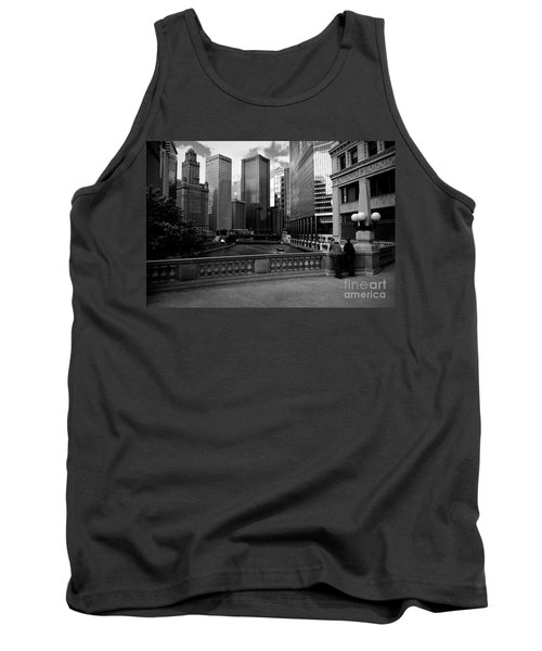 Summer On The Chicago River - Black And White Tank Top