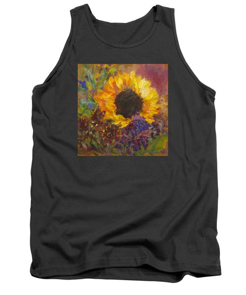 Sunflower Dance Original Painting Impressionist Tank Top by Quin Sweetman