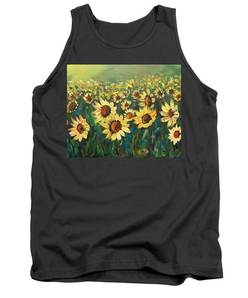 Tank Top featuring the painting Sunflower Field by Dorothy Maier