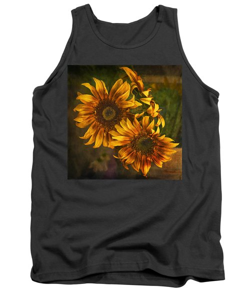 Tank Top featuring the photograph Sunflower Trio by Priscilla Burgers