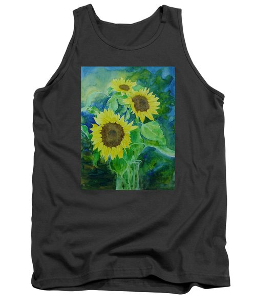 Sunflowers Colorful Sunflower Art Of Original Watercolor Tank Top by Elizabeth Sawyer