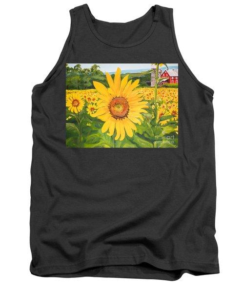 Sunflowers - Red Barn - Pennsylvania Tank Top