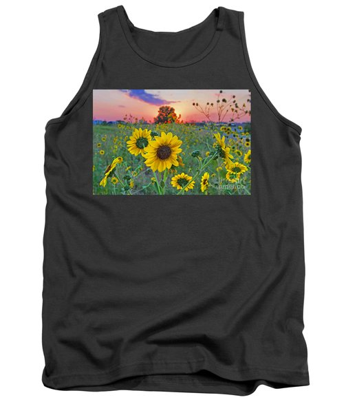 Sunflowers Sunset Tank Top by Gary Holmes