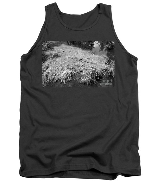 Tank Top featuring the photograph Sunny Gator Black And White by Joseph Baril