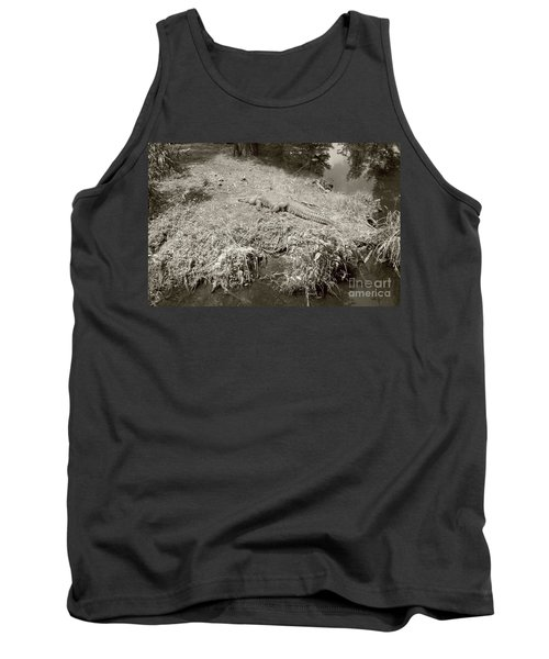 Tank Top featuring the photograph Sunny Gator Sepia  by Joseph Baril