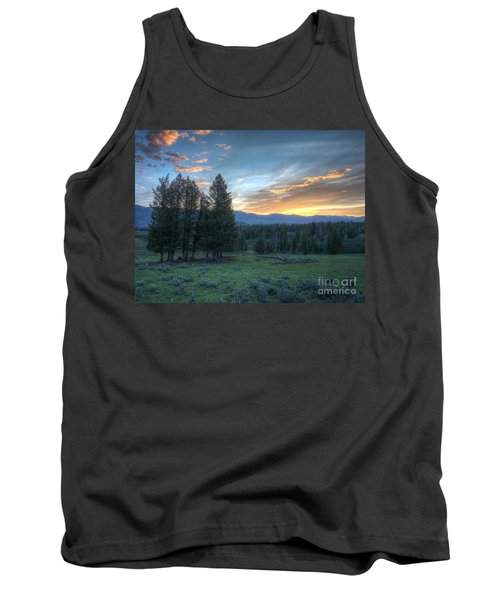 Sunrise Behind Pine Trees In Yellowstone Tank Top