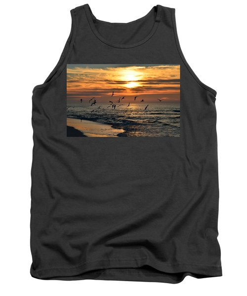 Tank Top featuring the photograph Sunrise Colors Over Navarre Beach With Flock Of Seagulls by Jeff at JSJ Photography