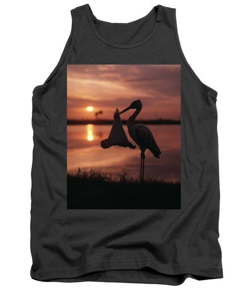 Sunrise Silhouette Of Stork Carrying Tank Top