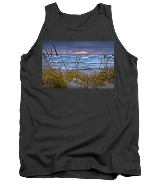 Sunset On The Beach At Lake Michigan With Dune Grass Tank Top by Randall Nyhof