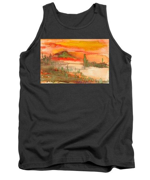 Tank Top featuring the painting Sunset In Saguaro Desert  by Mukta Gupta