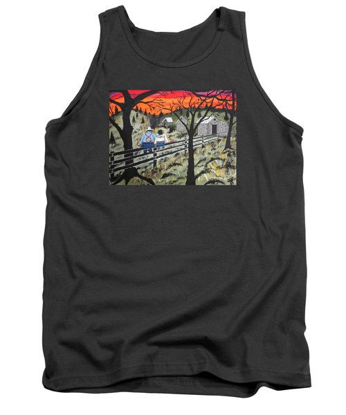 Sunset On The Fence Tank Top by Jeffrey Koss