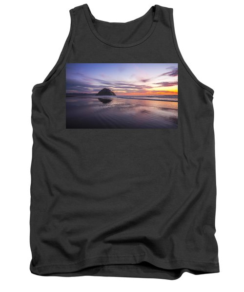 Sunset Reflections At Morro Bay Beach Rock Fine Art Photography Print Tank Top by Jerry Cowart