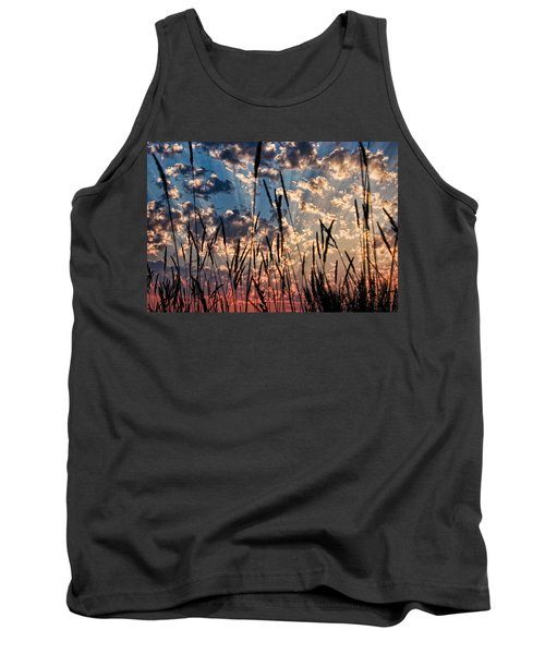 Tank Top featuring the photograph Sunset Through The Grasses by Don Schwartz