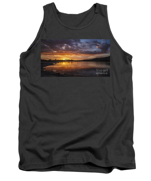Sunset With Clouds Over Malibu Beach Lagoon Estuary Tank Top by Jerry Cowart