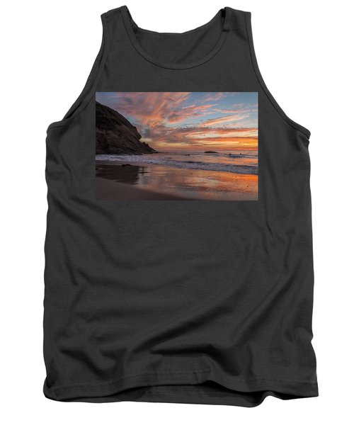 Surfers And Sunset At Strands Beach Dana Point Tank Top