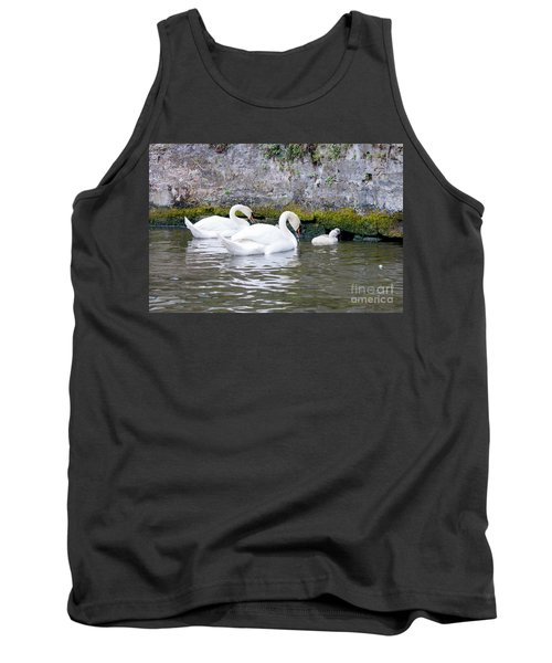 Swans And Cygnets In Brugge Canal Belgium Tank Top