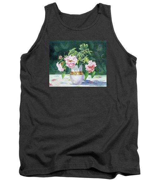 Tank Top featuring the painting Sweet Tea Roses Bouquet by Irina Sztukowski