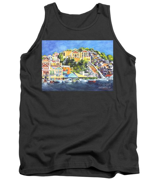 Symi Harbor The Grecian Isle  Tank Top