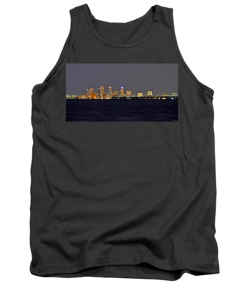 Tank Top featuring the photograph Tampa City Skyline At Night 7 November 2012 by Jeff at JSJ Photography